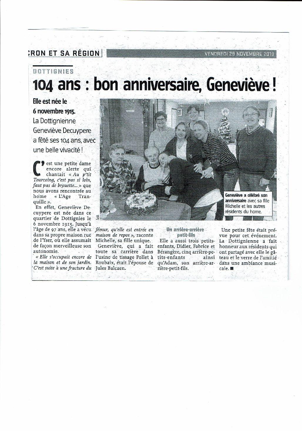 104 ans de Geneviève !